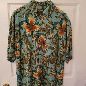 St John's Bay washable silk Hawaiian print shirt